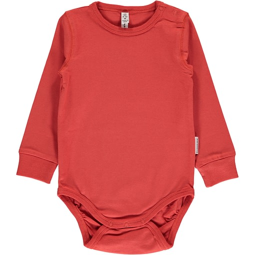 Rusty red solid colour long sleeve organic baby vest by Maxomorra (62/68 3-6M) 1