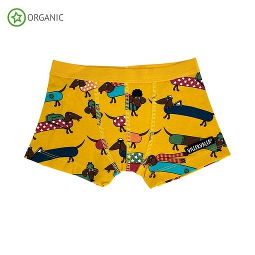 Villervalla organic cotton boxers - Dachshund mustard 1