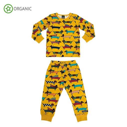 Villervalla organic cotton pyjamas dachshund print on mustard (134/140cm 9-10 years) 1