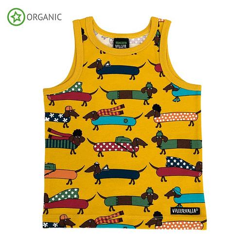 Villervalla organic cotton vest dachshund print on mustard 1