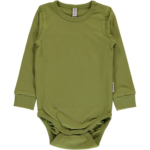 Apple green solid colour long sleeve organic baby vest by Maxomorra 1