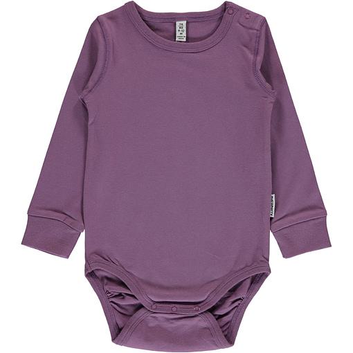 Dusty Purple solid colour long sleeve organic baby vest by Maxomorra 1