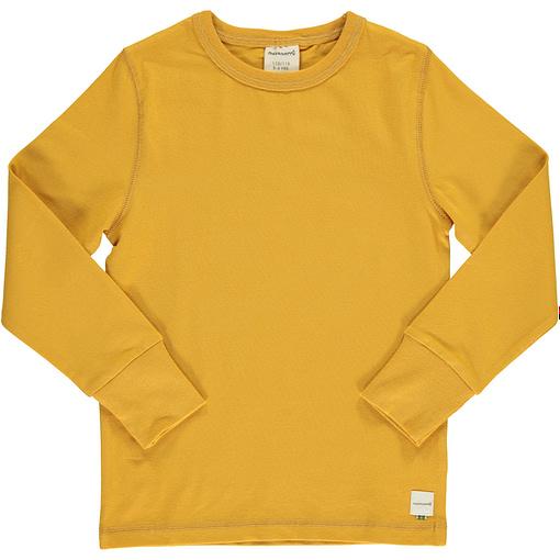 Solid ochre yellow organic long sleeve top by Maxomorra 1