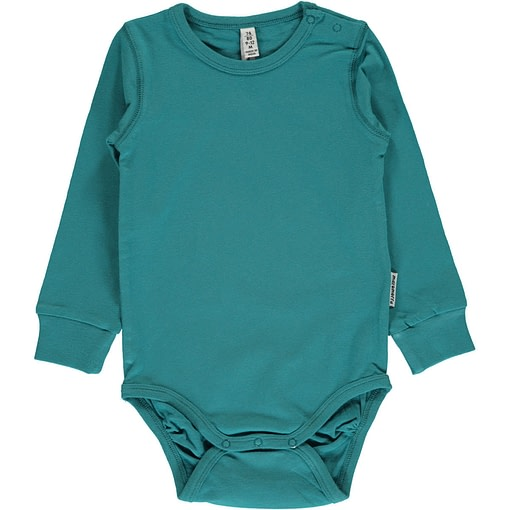 Soft petrol solid colour long sleeve organic baby vest by Maxomorra 1