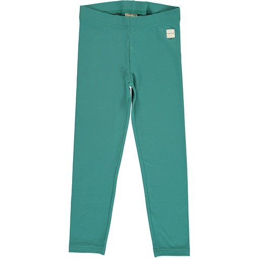 Teal solid colour organic cotton leggings from Maxomorra 1