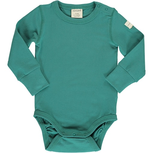 Teal solid colour long sleeve organic baby vest by Maxomorra 1