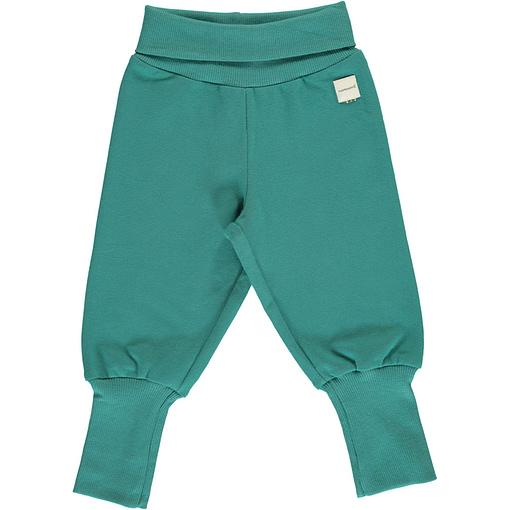 Maxomorra teal rib pants organic cotton ~ solid 1