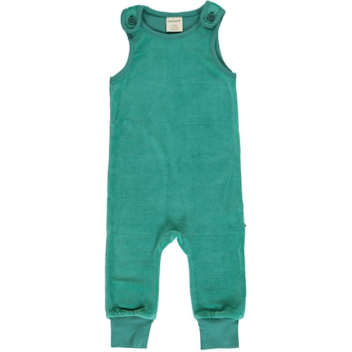 Teal dungarees by Maxomorra in organic blend velour (74-80cm 9-12m) 1