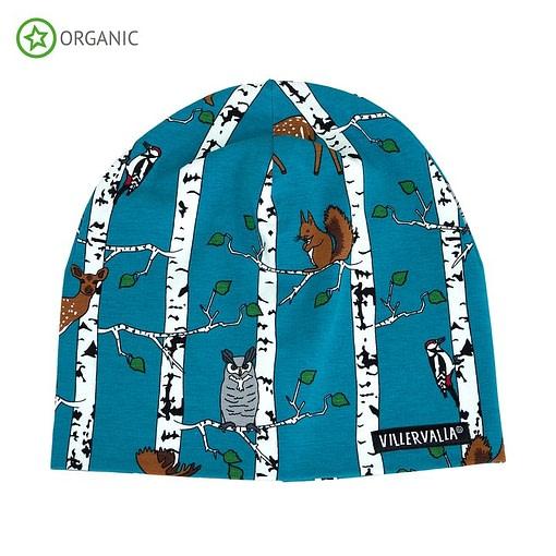 Villervalla birch animals organic cotton beanie hat - atlantic blue 1