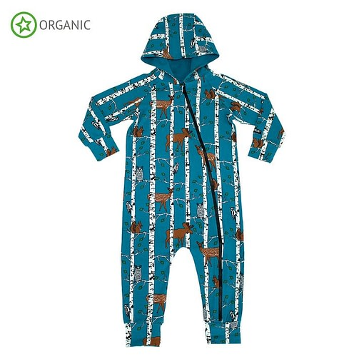 Villervalla organic hooded onesie birch wood animals print on atlantic blue 1