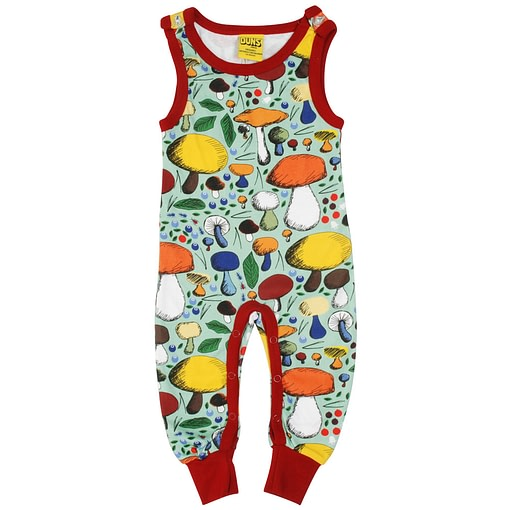 DUNS Sweden Mushroom Forest on jade organic cotton dungarees 1