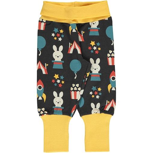 Fun park print organic cotton rib trousers ~ Maxomorra 1