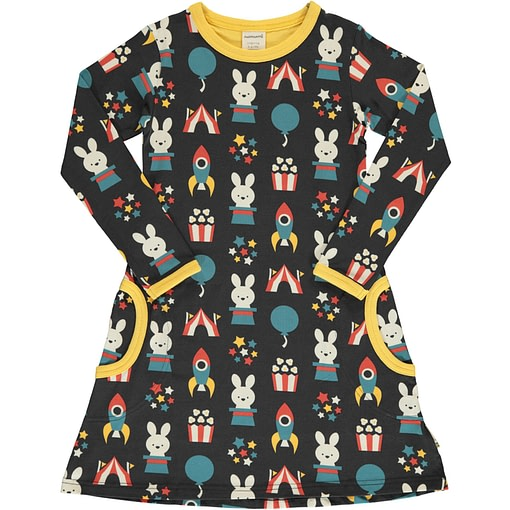 Fun Park organic long sleeve cotton dress ~ Maxomorra 1