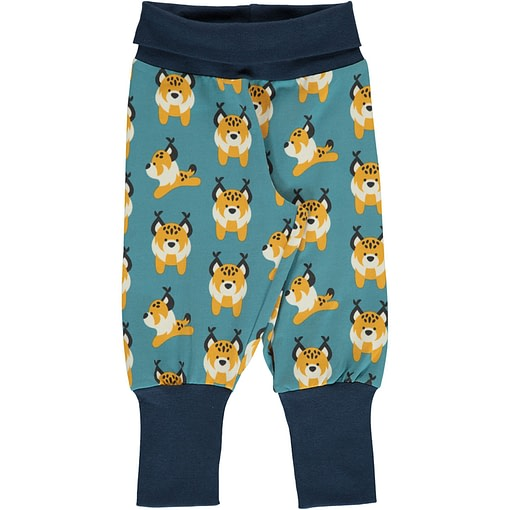 Lively lynx print organic cotton rib trousers ~ Maxomorra (86/92cm 18-24m) 1