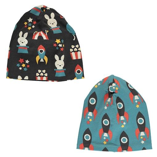 Maxomorra organic cotton with velour inner beanie hat | Moon Rocket (48/50) 1