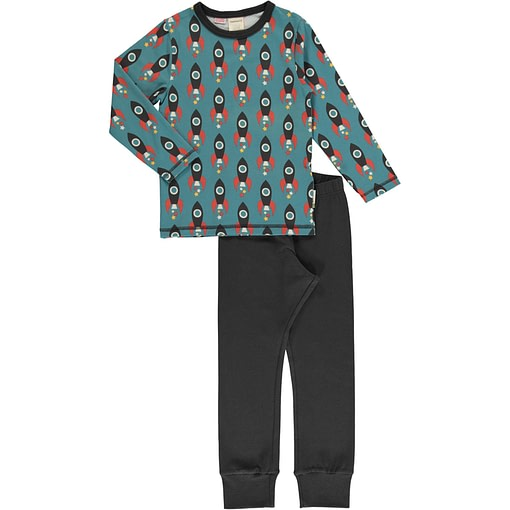 Maxomorra Moon Rocket organic cotton pyjamas (122/128cm 7-8) 1
