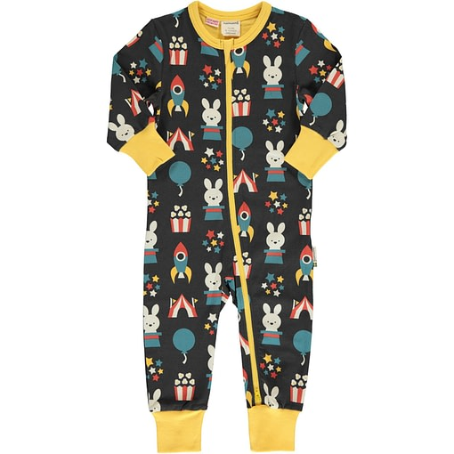 Maxomorra fun park organic long sleeve zip rompersuit (62/68cm 3-6 months) 1