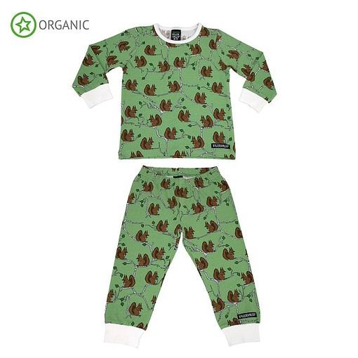 Villervalla organic cotton pyjamas ~ squirrel print on green (98-104cm 3-4 years) 1