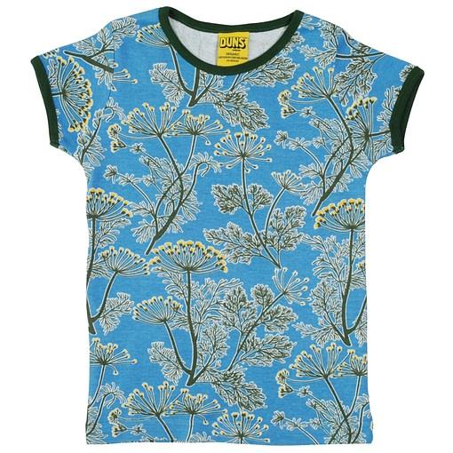DUNS Sweden dill on blue organic cotton t-shirt 1
