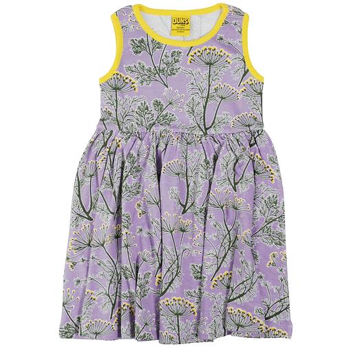 DUNS Sweden Dill on violet organic cotton sleeveless twirly dress 1