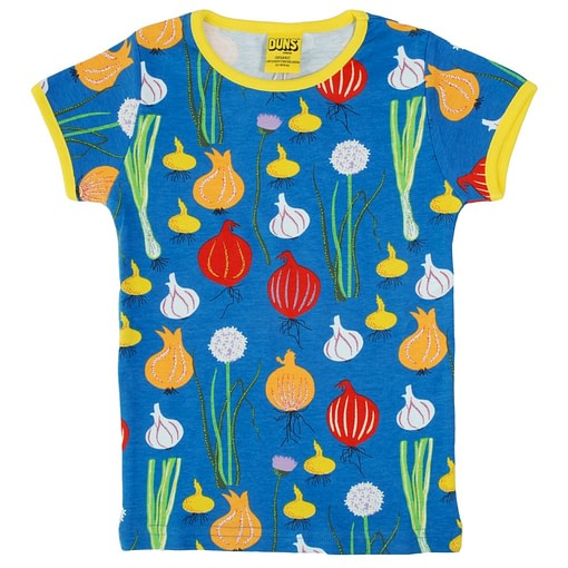 DUNS Sweden garlic and onion on blue organic cotton t-shirt 1