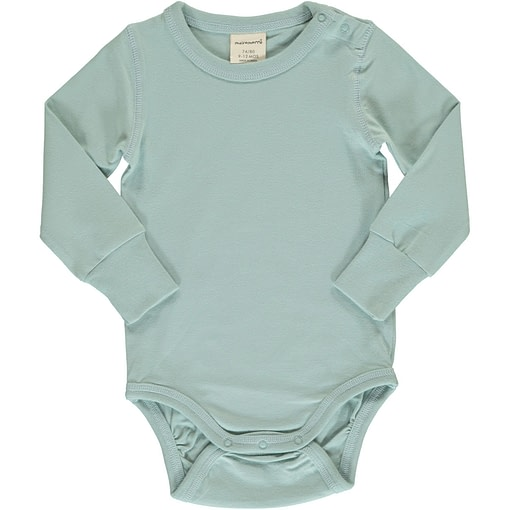 Icy blue solid colour long sleeve organic baby vest by Maxomorra 1