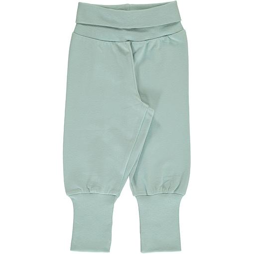 Maxomorra icy blue rib pants organic cotton ~ solid 1