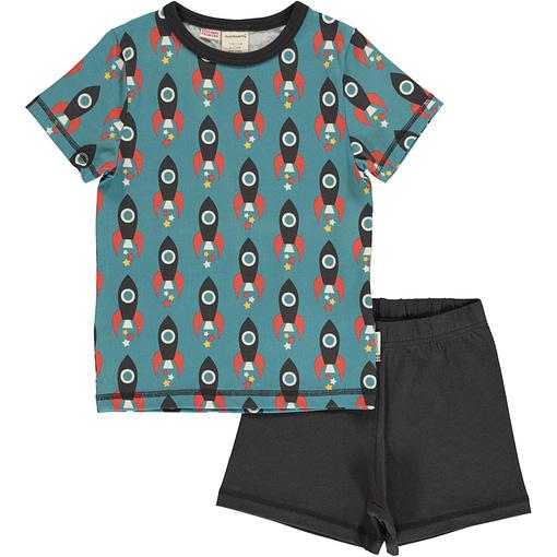 Maxomorra moon rocket organic short sleeve summer pyjamas 1
