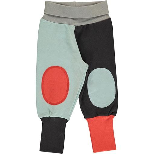 Maxomorra sweatshirt rib pants organic cotton ~ Multi fun block icy blue & rowan red 1