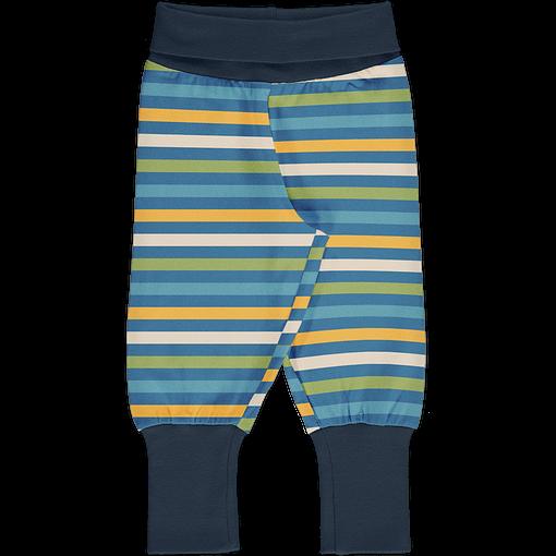 Maxomorra ocean stripe rib pants organic cotton 1