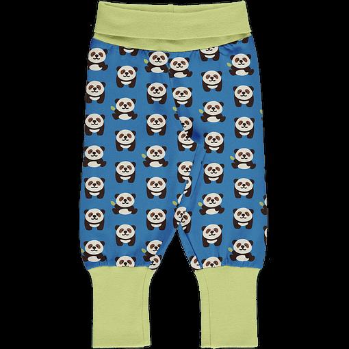 Playful Panda print organic cotton rib trousers ~ Maxomorra (86/92cm 18-24 months) 1