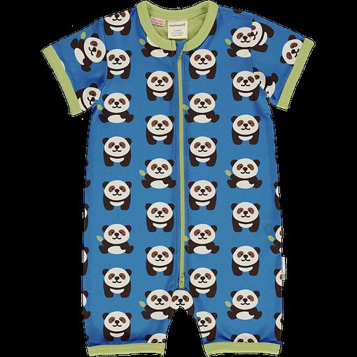 Maxomorra panda organic short sleeve zip rompersuit (74/80cm) 1
