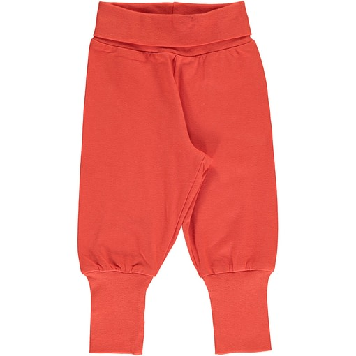 Maxomorra rowan red rib pants organic cotton ~ solid 1