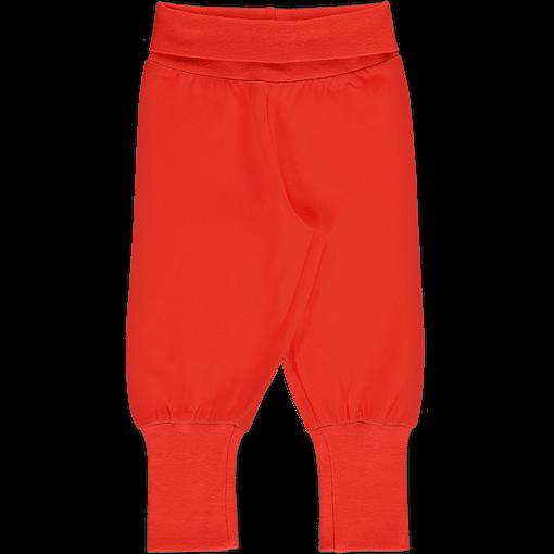 Maxomorra 'poppy red' rib pants organic cotton ~ solid (98/104cm 3-4 years) 1