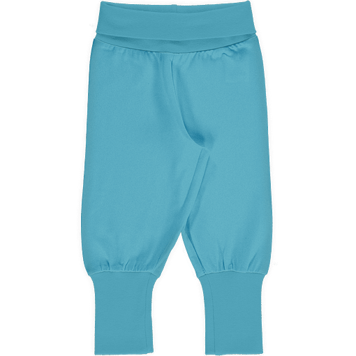 Maxomorra sky blue rib pants organic cotton ~ solid 1