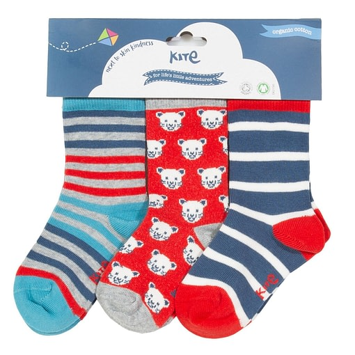 Cool cat and striped socks in organic cotton by Kite - 3 pack 1