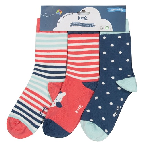 Owl socks in organic cotton by Kite - 3 pack 1
