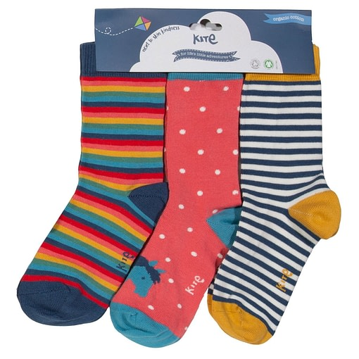 Pony socks in organic cotton by Kite - 3 pack (UK shoe 6-8) 1