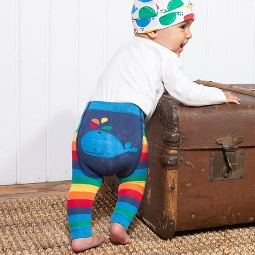 Kite rainbow stripy knit leggings in organic cotton 3