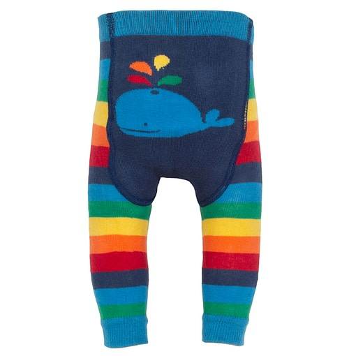 Kite rainbow stripy knit leggings in organic cotton 1