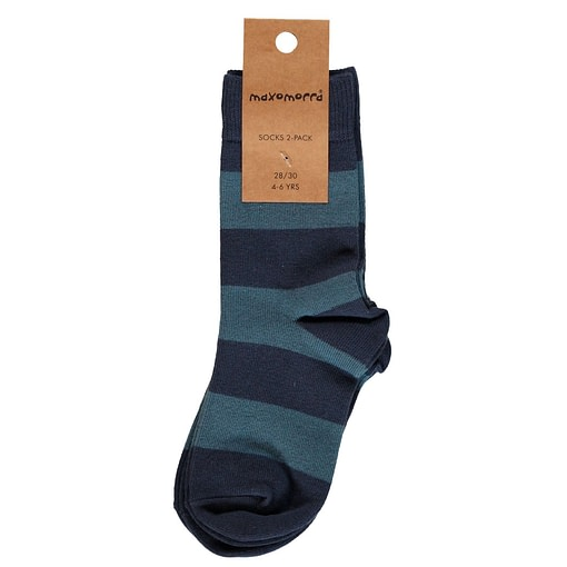 Maxomorra dark blue striped organic socks