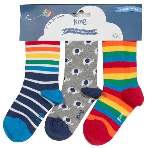 Kite rainbow stripe elephant socks