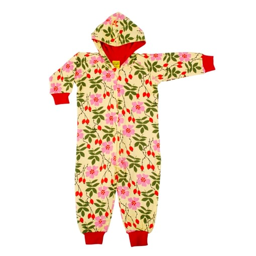 DUNS Sweden rosehip on yellow hooded onesie playsuit 1