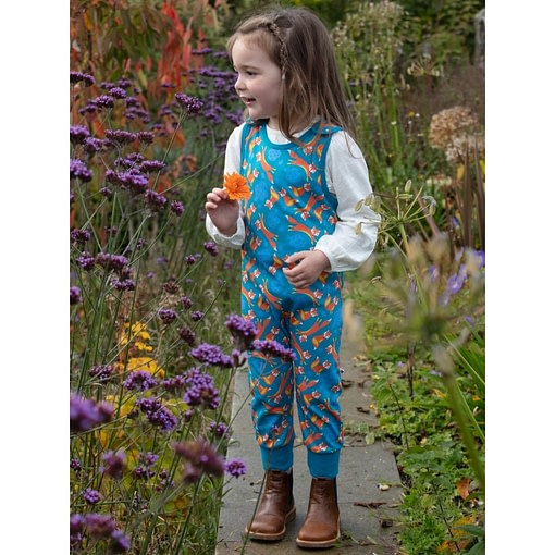 Piccalilly fox dungarees in garden