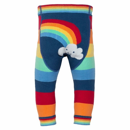 Rainbow stripy knit leggings