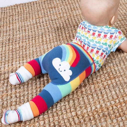 Rainbow striped knit leggings