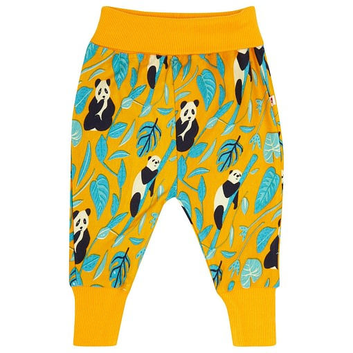 Panda pull up organic cotton trousers by Piccalilly 1