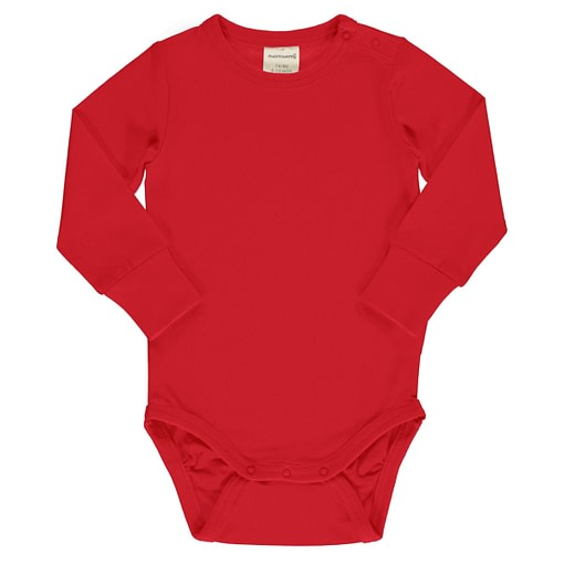 Maxomorra ruby red long sleeve vest in organic cotton
