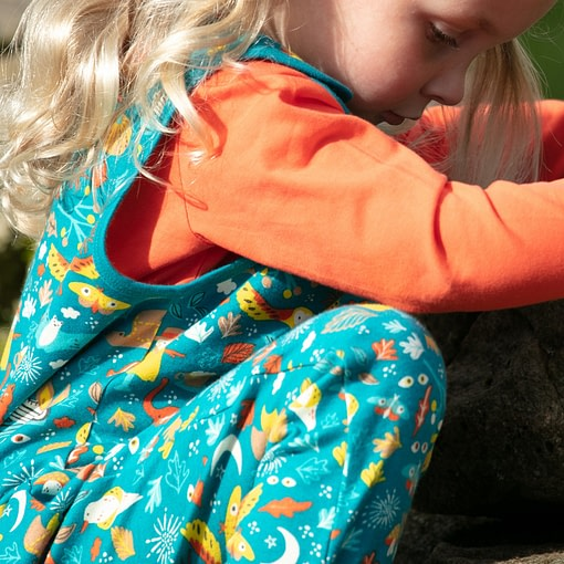 Piccalilly harvest festival print organic cotton dungarees 2