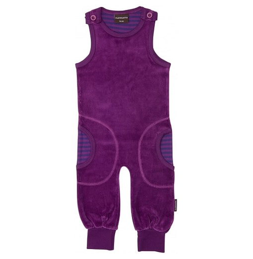 Bright velour organic dungarees by Maxomorra